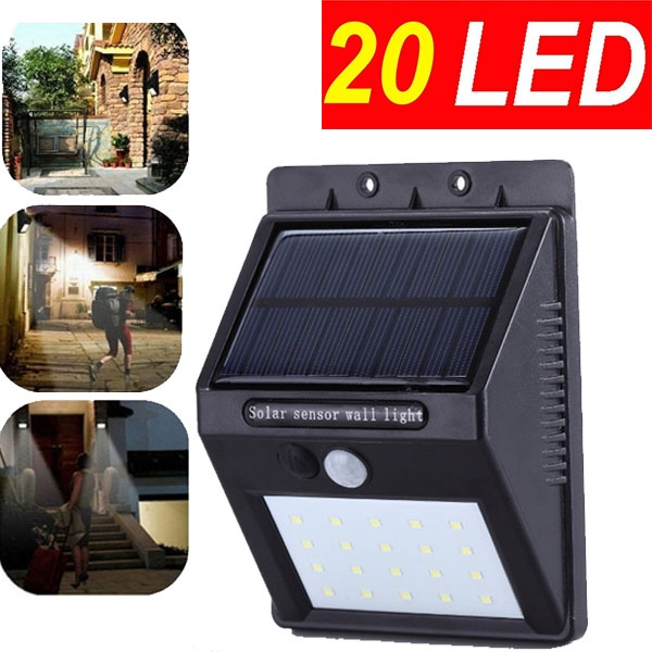 Hot 20 LED Solar Powered PIR Motion Sensor Light Waterproof Outdoor Garden Fence Patio Security Wall Light Lamp Night led Lights Solar Powered Gadgets(Color: White) (Size: 1 PC, Color: White)