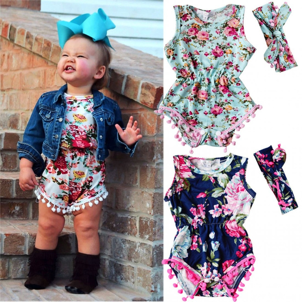Adorable Baby Girls Floral Bodysuit Romper Headband Jumpsuit Sunsuit Outfits