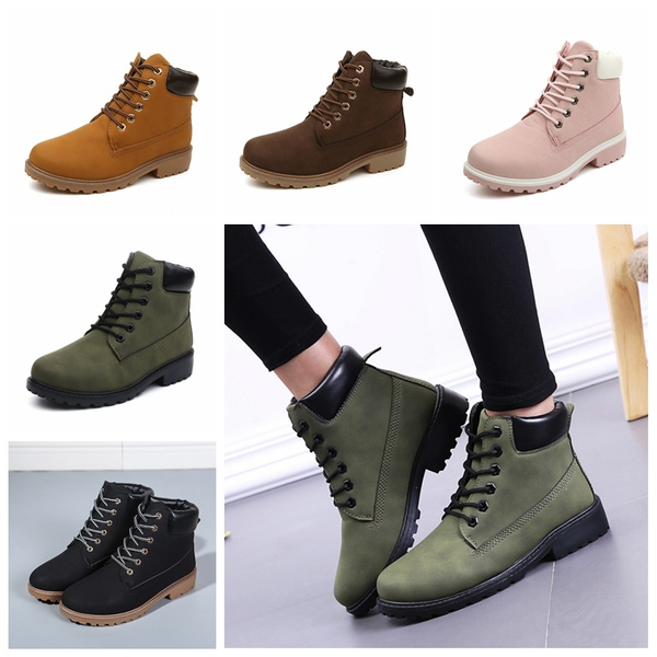 Picture of New Nubuck Leather Women Boots Lace Up Solid Casual Ankle Boots Martin Round Toe Women Shoes Timber Boots