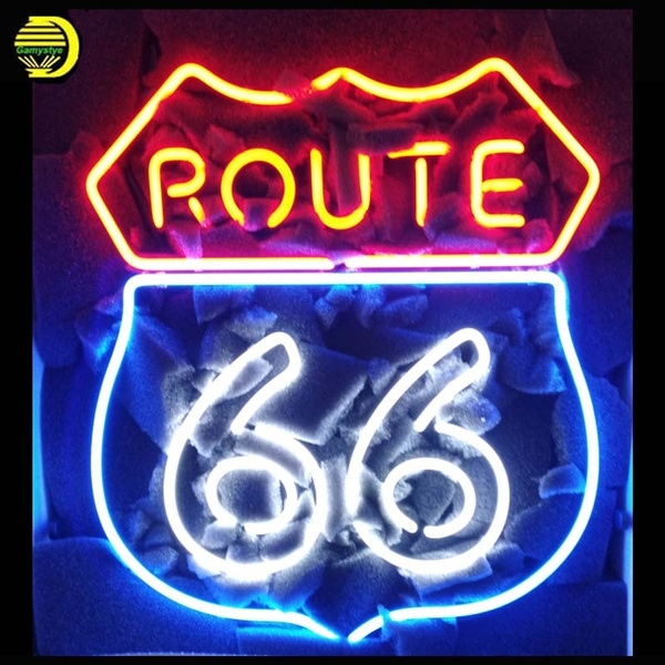 Gamystye Neon Sign Route 66 Garage Light Handicrafted Real Gl Custom Signs Beer Bar Lights Lamp Advertising 19x15