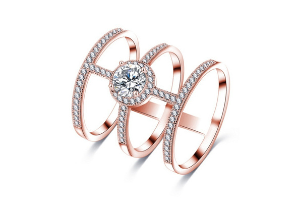Newest Design Big AAA Round Created Diamond Micro Inlayed Tri-band Unique Cross Rings For Women Party Jewelry