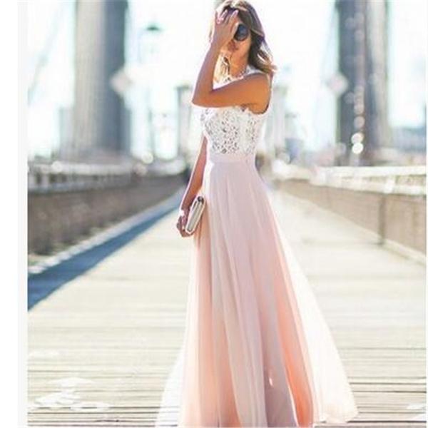 2017 Fashion Women Sexy Summer Lace Long Dress Evening Party Dress Sundress Chiffon Dress