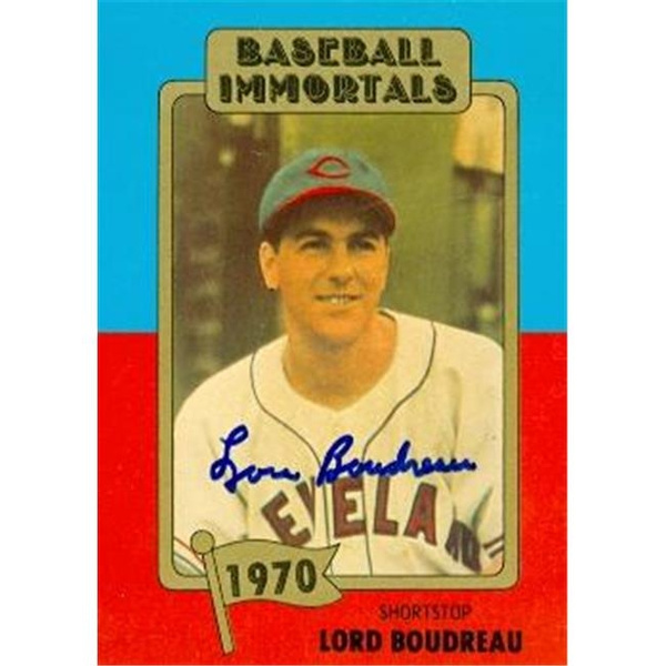 Autograph Warehouse 72781 Lou Boudreau Autographed Baseball Card Cleveland Indians 1980 Baseball Immortals No 115