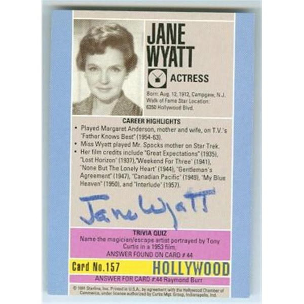 Autograph 189387 Star Trek Spock Mom Father Knows Best 1991 Hollywood Walk  of Fame No  157 Back Jane Wyatt Autographed Trading Card