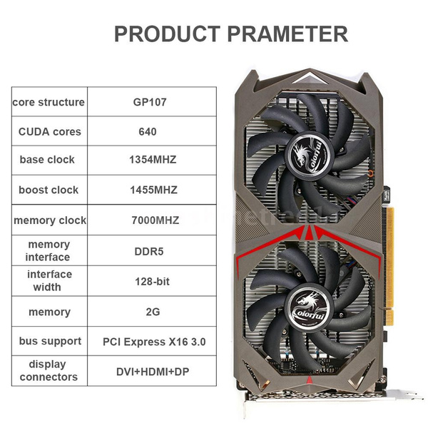 2G Graphics Card Colorful NVIDIA GeForce GTX 1050 GPU 2GB 128bit Gaming  2048M GDDR5 PCI-E X16 3 0 Video Graphics Card DVI+HDMI+DP Port with Two