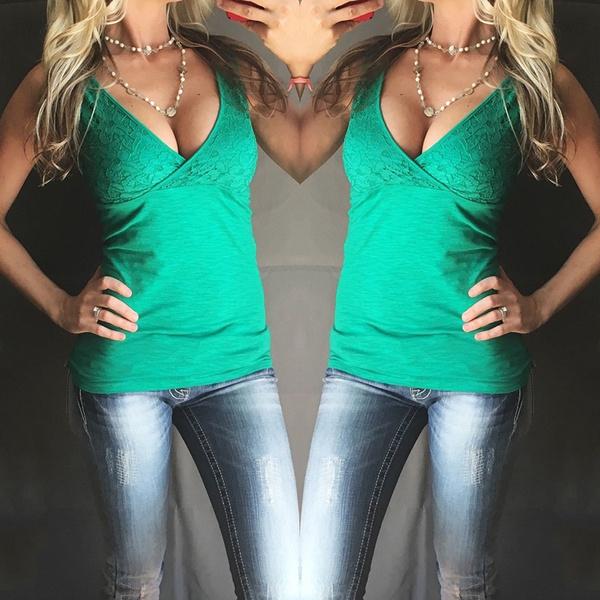 New Women Fashion Casual Lace Sleevesless Shirts Tank