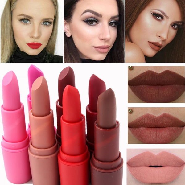 Picture of 7 Color Women Sexy Waterproof Makeup Full Lip Tattoo Long Lasting Pigments Red Brown Nude Velvet Matte Lipstick Lip Kit
