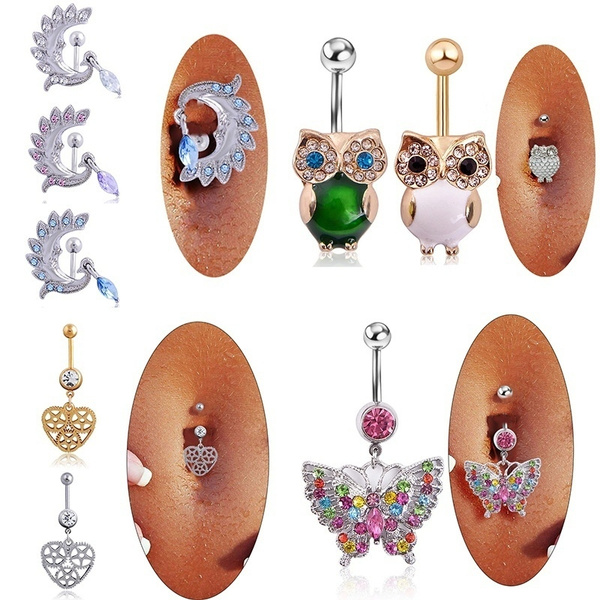 Baby On Board Crystal Phoenix Owl Butterfly Belly Button Navel Ring Body Piercing Jewelry
