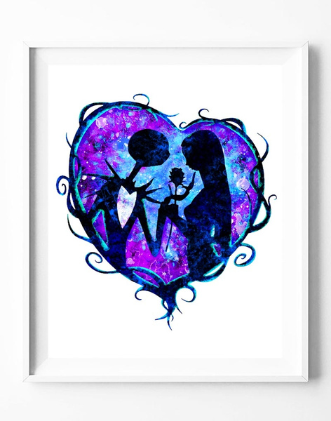 Wish The Nightmare Before Christmas Jack And Sally Watercolor
