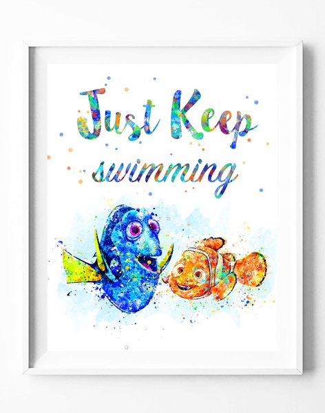 Wish | Finding Nemo Dory Quote Watercolor Painting Canvas Art Print ...
