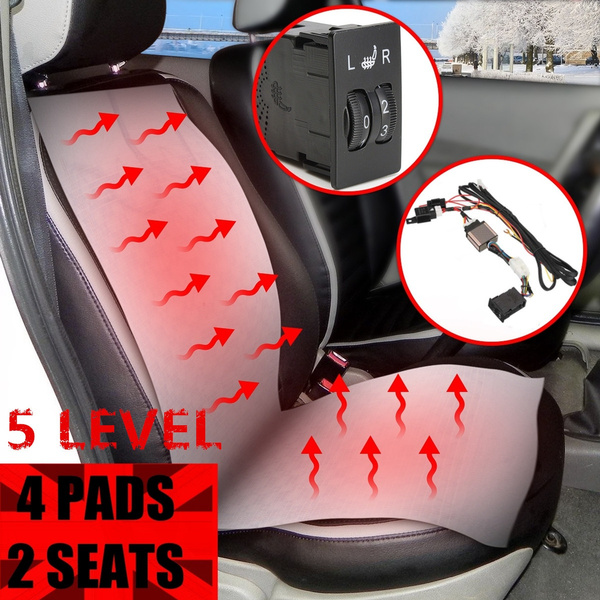 Universal 2 Seats 6 Level Carbon Fiber Car Seat Heater Heated Warmer 12V Kits