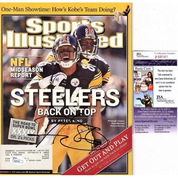 buy online a6d56 e718a Real Deal Memorabilia HWardSI-1-JSA Hines Ward Signed - Autographed  Pittsburgh Steelers 2004 Original Sports Illustrated Magazine - JSA  Certificate of ...