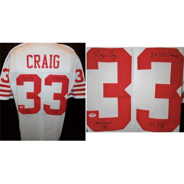 huge selection of 49ba4 c64d8 Real Deal Memorabilia RCraigJ-1 Roger Craig Signed - Autographed San  Francisco 49ers Custom Jersey with PSA & DNA Authenticity & 3x Inscriptions  - ...