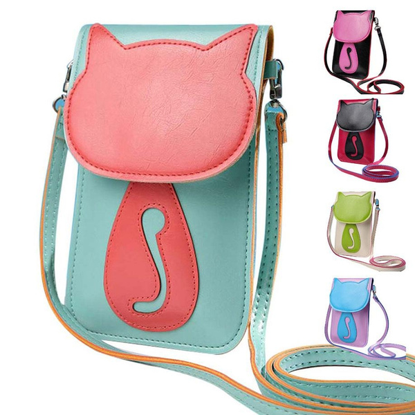 Picture of Fashion Women Shoulder Crossbody Mini Bag Messenger New Cute Cat Cartoon Pu Leather Phone Handbag