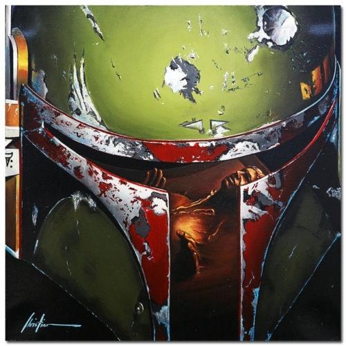 Boba Fett Painting Art Star Wars Wallpaper Silk Poster Print Sizes 36 X 24