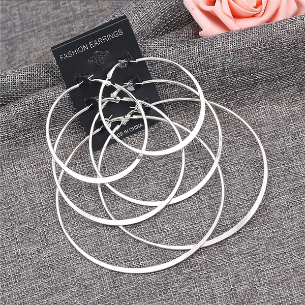 Picture of 3pcs/set Women Fashion 925 Silver Exaggeration Textured Ear Lady Studs Round Hoop Earrings Womens Jewelry Color Silver
