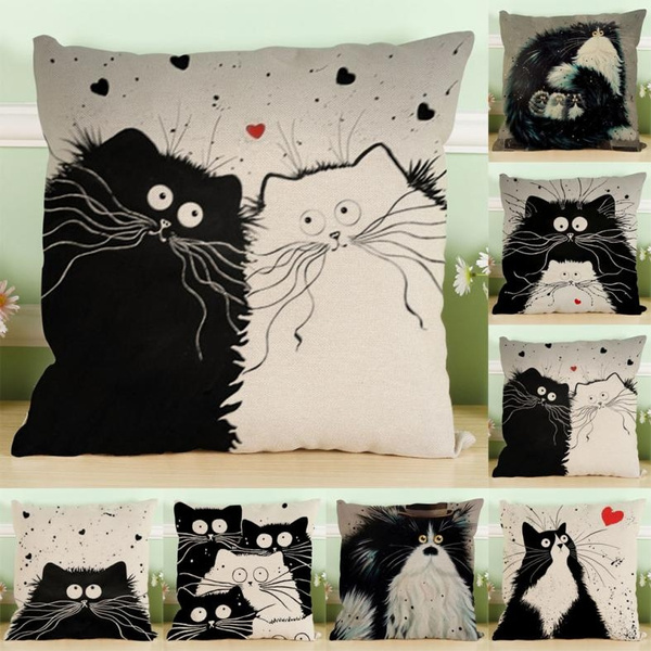 Picture of Vintage Cat Dog Cotton Pillow Case Sofa Waist Throw Cushion Cover Home Car Decor