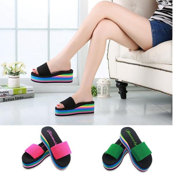 205f0125453 New Women s Casual Flip Flops Foam Beach Sandals Rainbow High ...