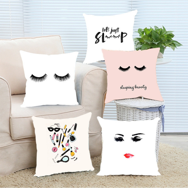 Enjoyable Luxury Modern False Eyelash Pink Sleeping Beauty Printed Sofa Cushion Cover Fashion Peach Skin Velvet Throw Pillow Case Forskolin Free Trial Chair Design Images Forskolin Free Trialorg