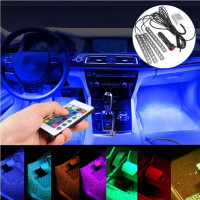 wish 4x 5050 smd 9 led rgb car interior floor decorative atmosphere strip light remote control. Black Bedroom Furniture Sets. Home Design Ideas