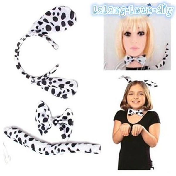 6A New Dalmatian Fancy Dress Set Ears Tail and Bow Tie Adult Childrens Party