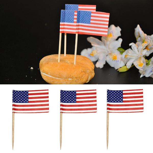 50pcs American Flag Cake Decoration Cupcake Picks