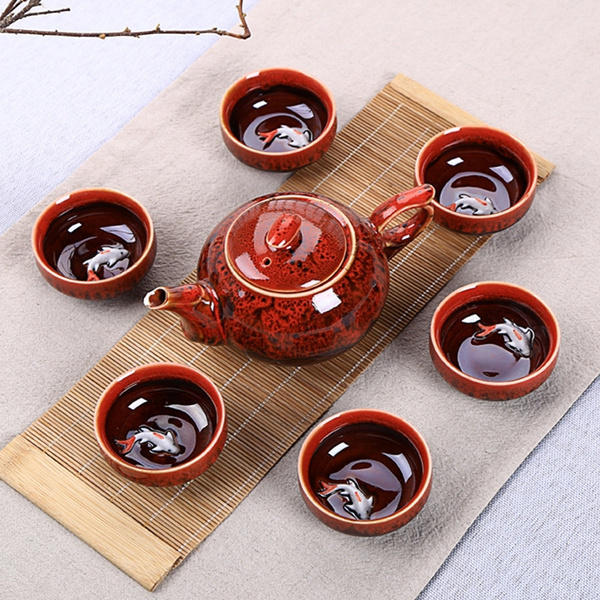 Chinese Gongfu Tea Cup Practical Ceramic Teapot Set by Wish