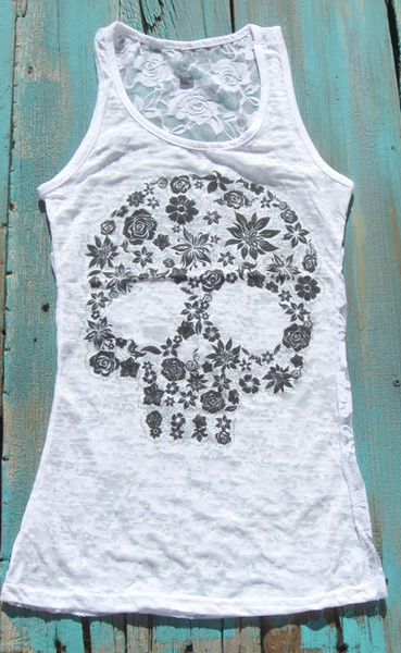 2017 Women Ladies Sexy Skull Print Lace Back Tank Top(S-5XL)
