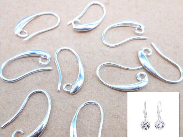 10PCS DIY Earring Findings Jewelry Silver Pinch Bail Earwire Hooks For Crystal