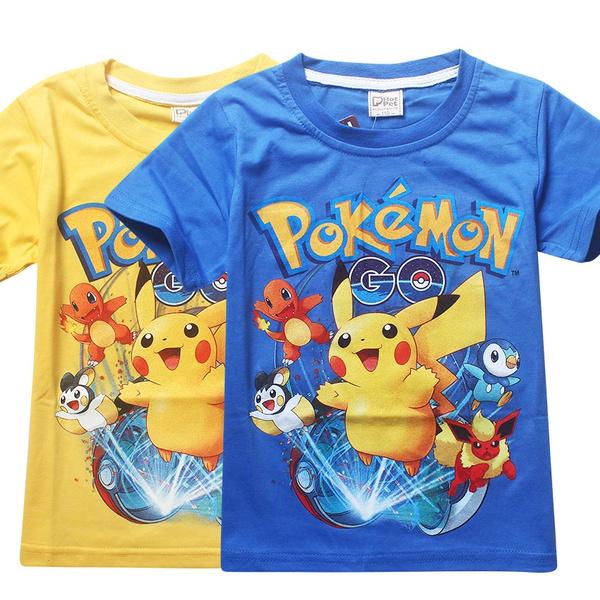Boys Girls Pokeman Pikachu T-shirt  Kids Short Sleeve Cartoon Tee Tops Cotton