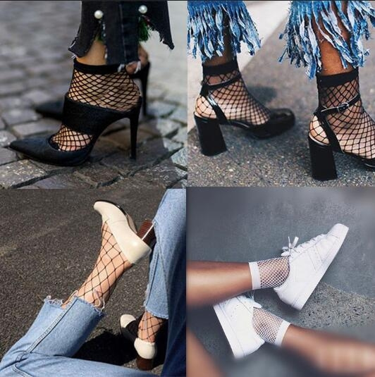 Picture of Fashion Street Style Sexy Hollow Out Mesh Fishnet Socks Hipster Black White