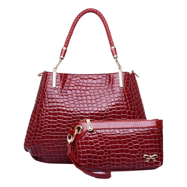 Wish Honey Scaldfish Por Women Handbags Luxury Brand Shoulder Bag Crocodile Grain Lash Package 2pc Purse Fashion Handbag