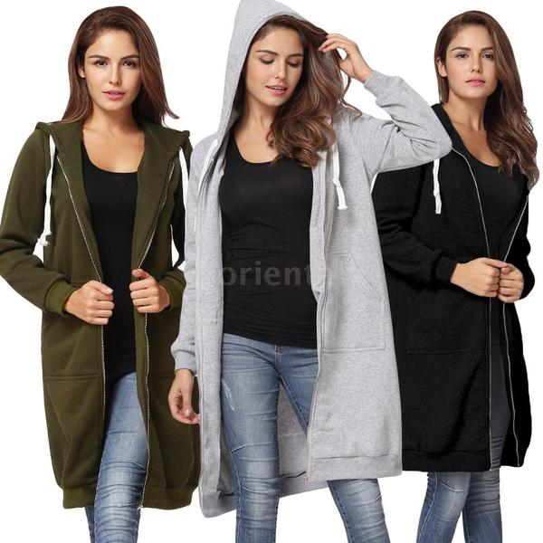 hooded, Outerwear, sweatshirtcardigan, Elegant