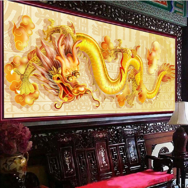 Wish | DIY Golden Dragon Diamond Embroidery 5D Dragon Patterns ...