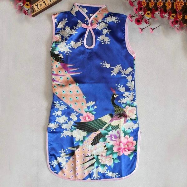 2-8Y Baby Girl Kid Floral Peacock Cheongsam Chinese Qipao Sleeveless Party Dress