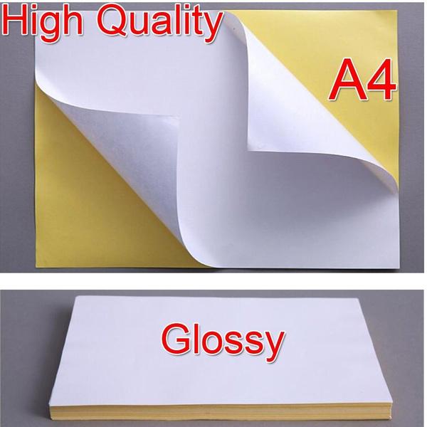 20Pcs A4 White Glossy Self-adhesive Sticker Sticky Back Label Printing  Paper Sheet Inkjet Laser Printer Graphic Labels Logistics Labels Address  Labels
