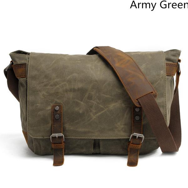 Wish Retro Mens Canvas Laptop Messenger Bag Leather Travel Cross Body Shoulder Bags 14 Inch