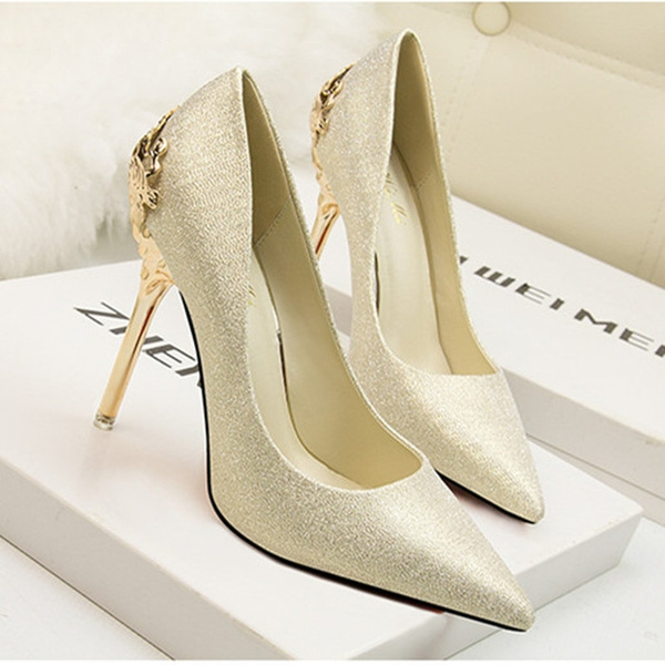 Picture of Fashion Sexy Carved Metal Wedding High Heel Shoes Flock Leather Nude Platform Pointed Toe Summer Sandal Pumps Sexy High Thin Heels