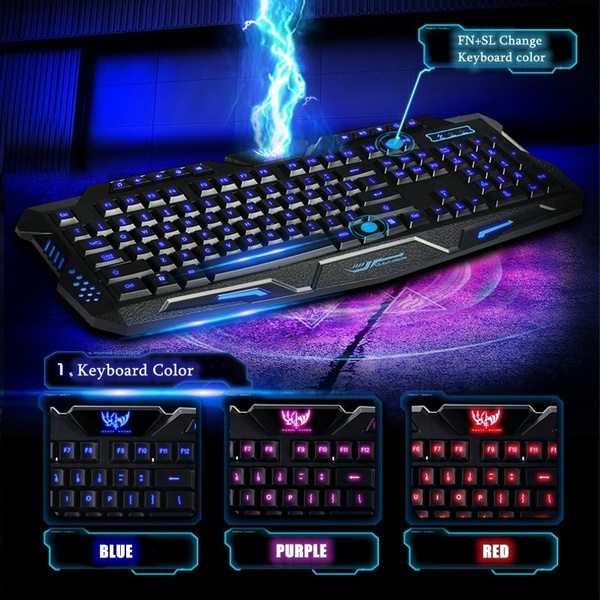 3 Color Cool LED Changing Illuminated Backlight Gaming Keyboard USB Wired  Waterproof for PC Laptop