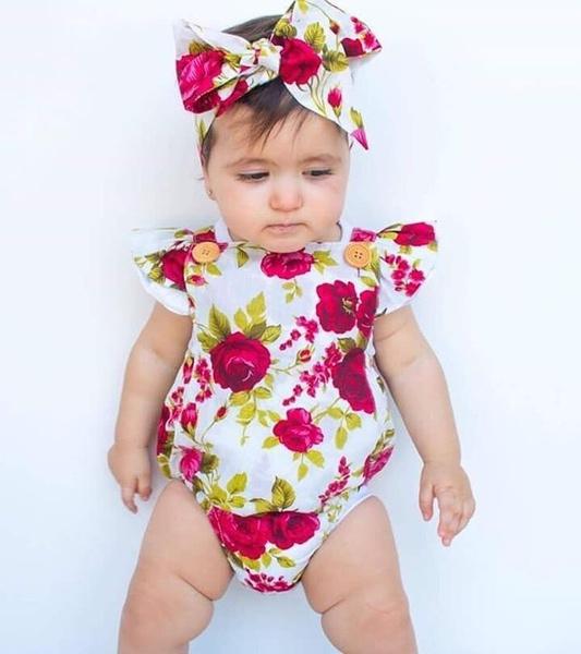 Newborn Baby Girls Clothes Flower Jumpsuit Romper Bodysuit + Headband Outfits C