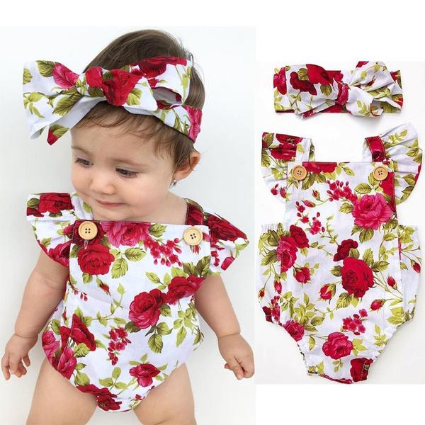 6b0378818 Newborn Baby Girls Clothes Flower Jumpsuit Romper Bodysuit + Headband  Outfits C
