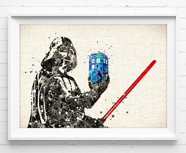 Wish | Darth Vader TARDIS - Watercolor Painting Star Wars Poster ...