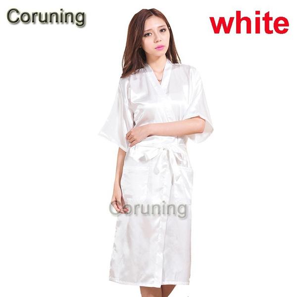 Wish | Fashion Women Solid Silk Kimono Robe For Bridesmaids Wedding ...