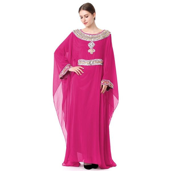 Mode Avondjurken.Fashion Muslim Women Khaleeji Abaya Dubai Moroccan Kaftan Beaded
