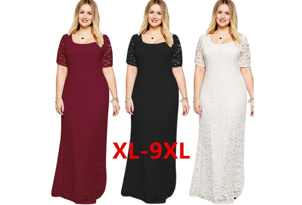 Fashion High Quality Sexy Women Chiffon Lace Floral Cocktail Party Evening Party Cocktail Long Dress Plus Size 9XL Maxi Dress
