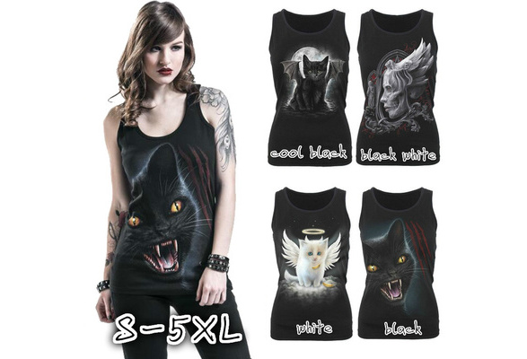 Sleeveless Tank Top Printing O-neck Top Cotton Summer Cool Tees Plus Size