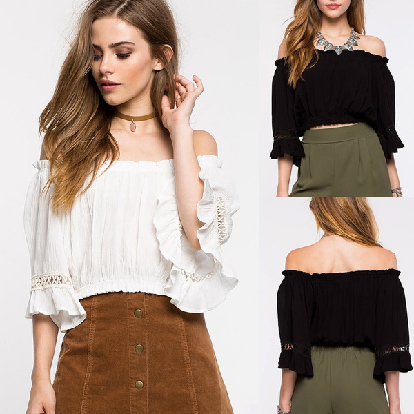 Picture of Womens Off Shoulder Long Sleeve Cropped Chiffon Shirt Ladies Frilly Tops For Summer