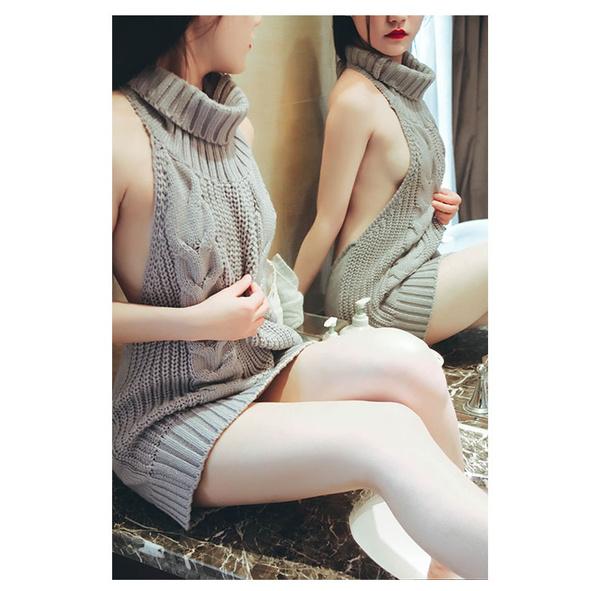 43e212a2329 Sexy Women Virgin Killer Backless Long Sweater Turtleneck Sleeveless ...