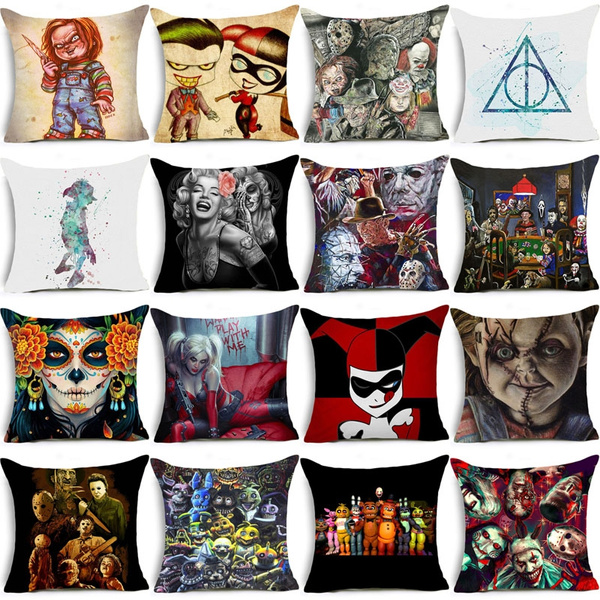 Picture of 18 Inch Watercolor Harry Potter Polyester Square Pillow Cases Sofa Car Throw Pillow Cushion Cover Home Decoration