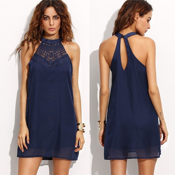 Picture of Women Fashion Lace And Chiffon Patchwork Mini Halter Neck Dress